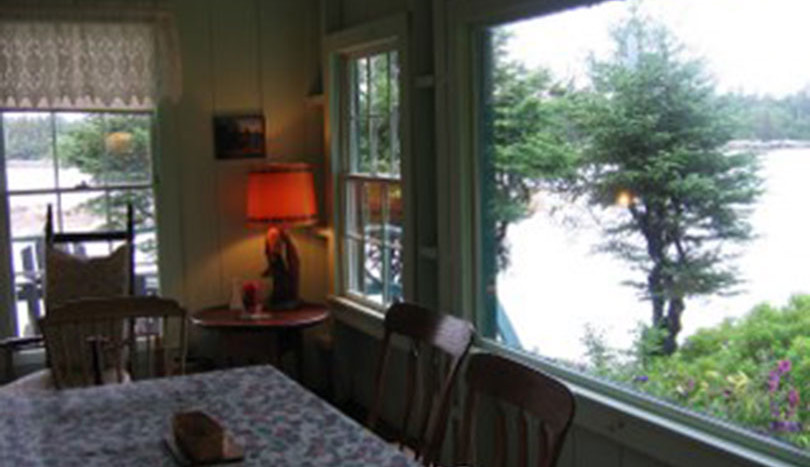 Dining table with water view