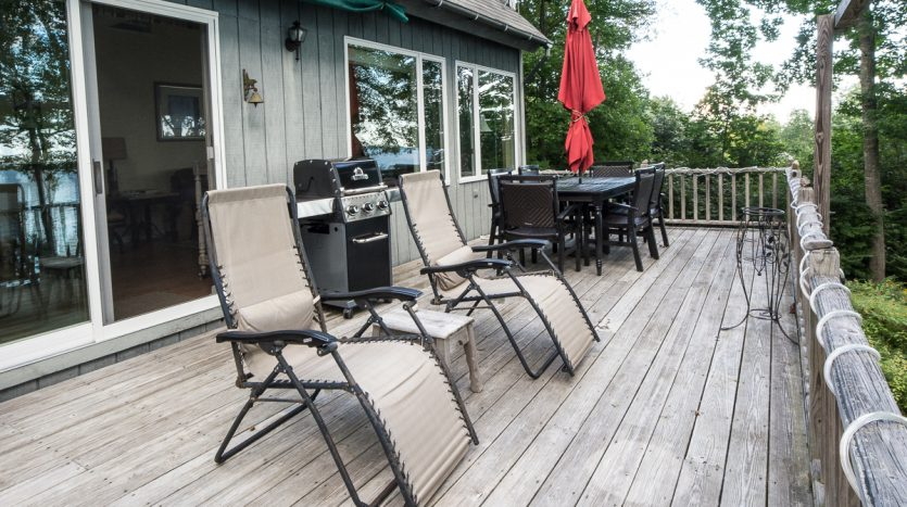 Porch with seating and grill