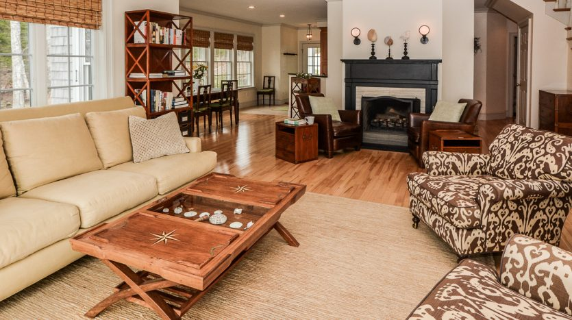 Living room and sitting area with fireplace