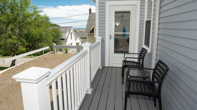 Side porch with distant ocean views