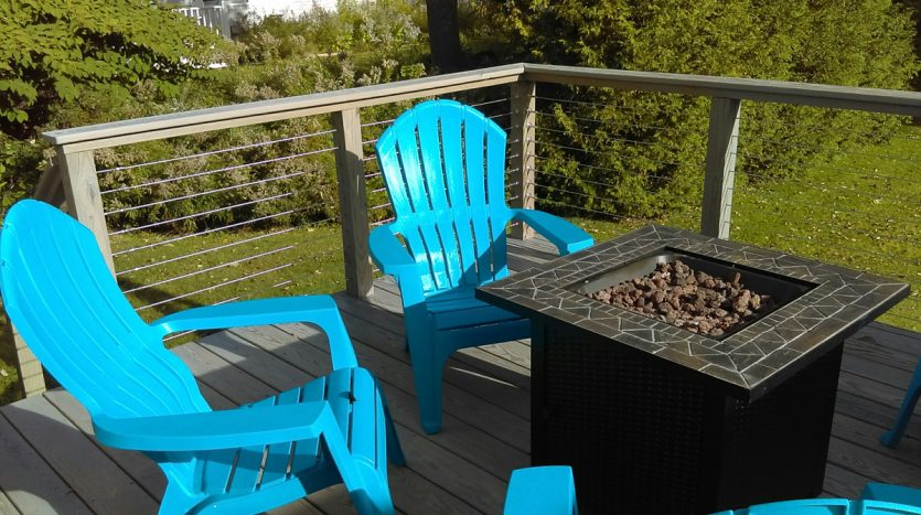 Back deck with fire pit