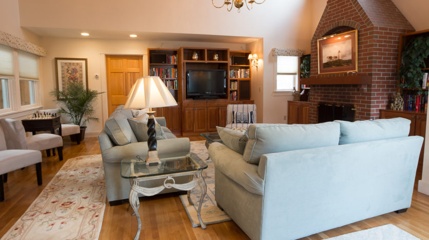 Twin couches and TV in great room