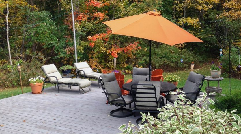 Large back deck in the fall