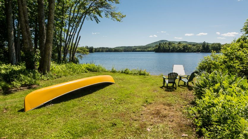 Canoe and private dock on Megunticook Lake