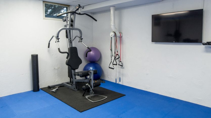 Workout room with TV