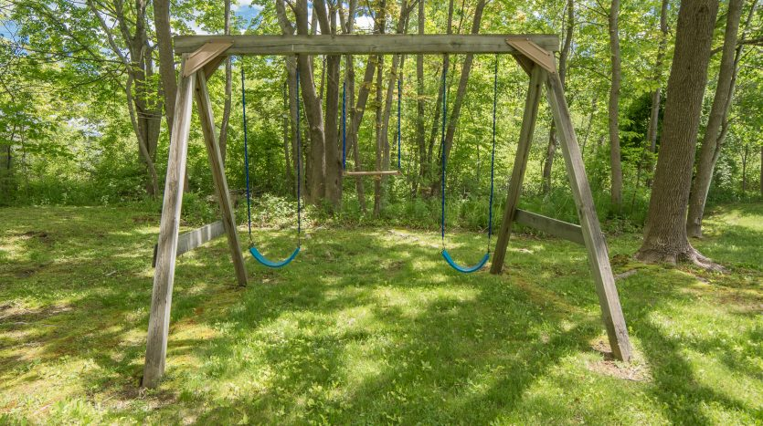 Backyard swings in the cool shade